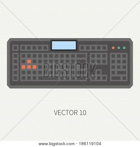 Plain flat color vector computer part icon keyboard. Cartoon. Digital gaming and business office pc desktop device. Innovation gadget. Data. Internet. Illustration and element for design and wallpaper