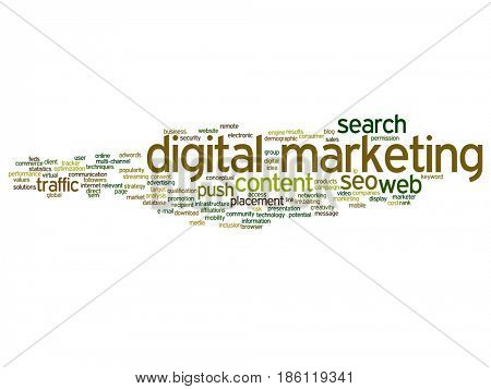 Concept or conceptual digital marketing seo traffic abstract word cloud isolated on background. Collage of business, market, content, search, web push, placement, communication technology text
