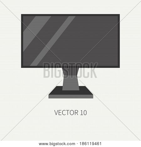 Plain flat color vector computer part icon lcd video monitor. Cartoon. Digital gaming and business office pc desktop device. Innovation gadget. Internet. Illustration and element for design, wallpaper