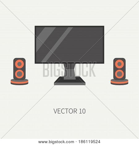Plain flat color vector computer part icon lcd video monitor. Cartoon. Digital gaming and business office pc desktop device. Innovation gadget. Speakers. Illustration and element for design, wallpaper