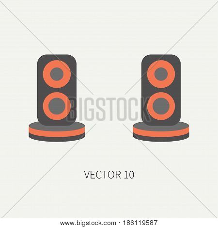 Plain flat color vector computer part icon audio speakers. Cartoon. Digital gaming and business office pc desktop device. Innovation gadget. Sound loud. Illustration and element for design, wallpaper.