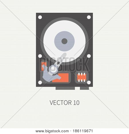 Plain flat color vector computer part icon data storage hdd. Cartoon. Digital gaming and business office pc desktop device. Innovation gadget. Plate. Illustration and element for design, wallpaper.