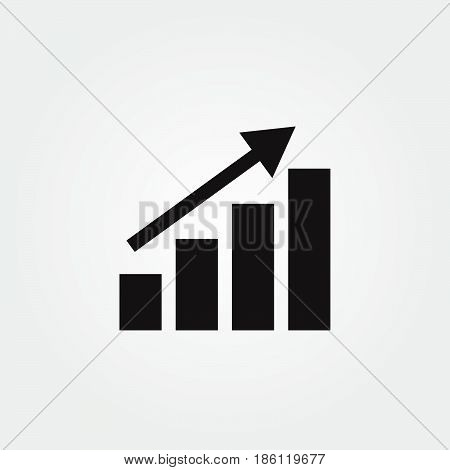 chart up vector icon isolated on white background .