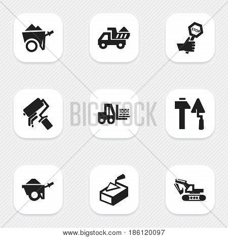 Set Of 9 Editable Building Icons. Includes Symbols Such As Trolley, Spatula, Camion And More. Can Be Used For Web, Mobile, UI And Infographic Design.