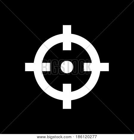 mission vector icon isolated on black background .