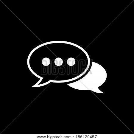 dialogue vector icon isolated on black background .
