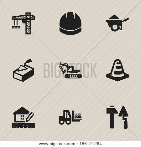 Set Of 9 Editable Construction Icons. Includes Symbols Such As Spatula, Home Scheduling, Hardhat And More. Can Be Used For Web, Mobile, UI And Infographic Design.