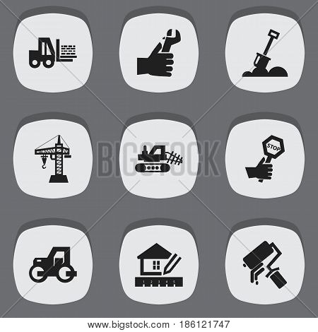 Set Of 9 Editable Construction Icons. Includes Symbols Such As Endurance, Scrub, Mule And More. Can Be Used For Web, Mobile, UI And Infographic Design.