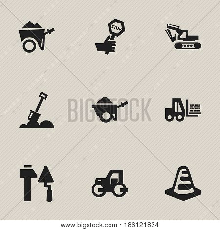 Set Of 9 Editable Building Icons. Includes Symbols Such As Construction Tools, Truck, Notice Object And More. Can Be Used For Web, Mobile, UI And Infographic Design.