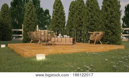 3d illustration of a garden dinner place
