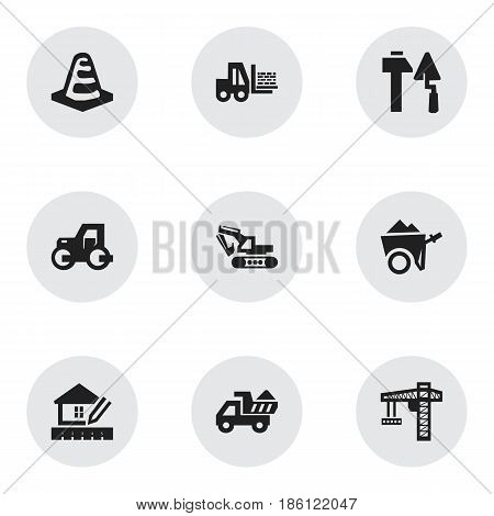 Set Of 9 Editable Building Icons. Includes Symbols Such As Truck, Caterpillar, Lifting Equipment And More. Can Be Used For Web, Mobile, UI And Infographic Design.