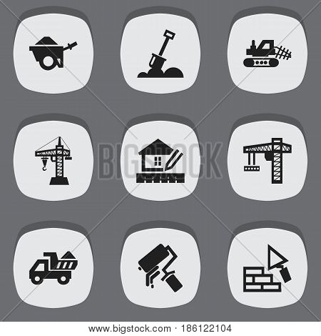 Set Of 9 Editable Building Icons. Includes Symbols Such As Facing, Scrub, Mule And More. Can Be Used For Web, Mobile, UI And Infographic Design.