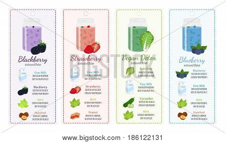 Different smoothie recipes, labels - berries, detox, milk, healthy drinks. Mint, cucumber, bok choy, strawberry, blackberry, blueberry, peanut, hazelnut in recipes. Made in cartoon flat style.