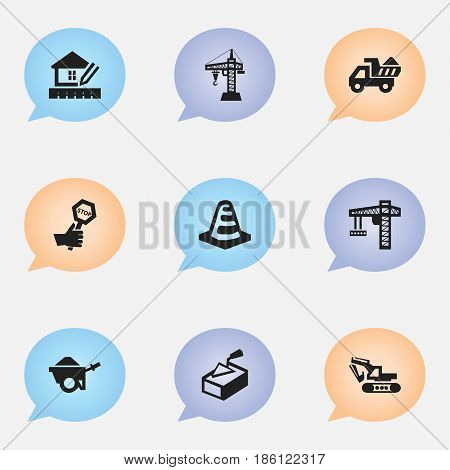 Set Of 9 Editable Construction Icons. Includes Symbols Such As Endurance, Spatula, Notice Object And More. Can Be Used For Web, Mobile, UI And Infographic Design.