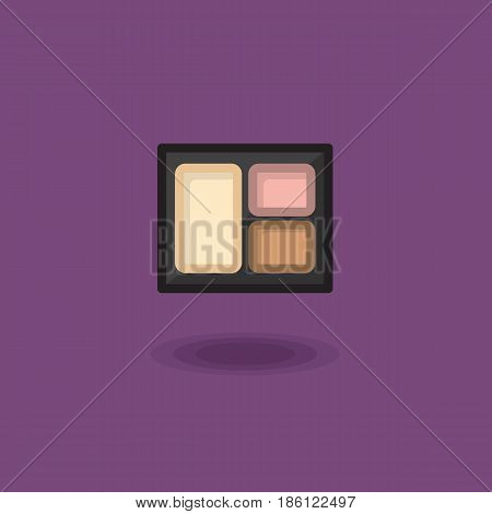 Vector icon compact eye shadow three pastel colors, eye makeup. Illustration of pallet with colored eye shadow isolated on a lilac background. Nude color eyeshadow