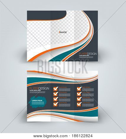 Brochure template. Business trifold flyer.  Creative design trend for professional corporate style. Vector illustration. Green, orange, and grey color.