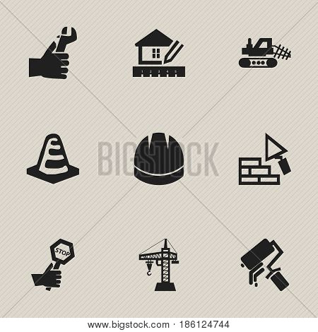 Set Of 9 Editable Building Icons. Includes Symbols Such As Hands , Scrub, Home Scheduling. Can Be Used For Web, Mobile, UI And Infographic Design.