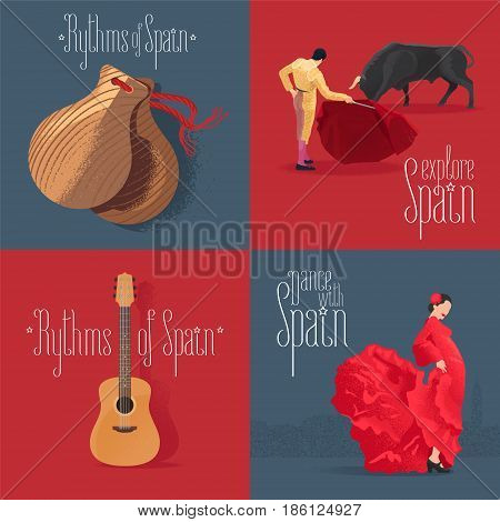 Set of vector illustrations with Spanish symbols: flamenco dancer Spanish guitar bull fighter. Design clip-art element for visit Spain concept