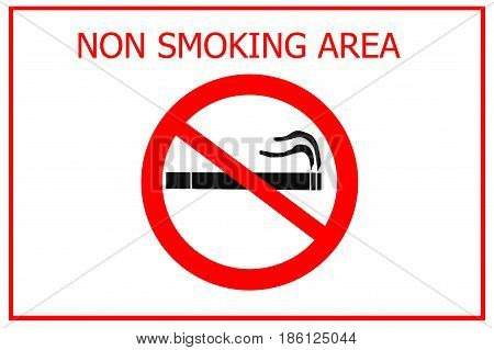 non smoking area sign isolated on white background