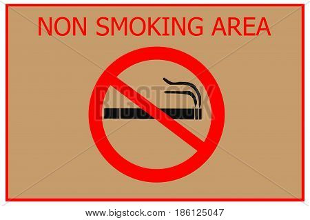 non smoking area sign isolated on gold background