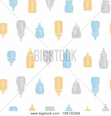 Baby seamless bottle pattern.Design for fabric, web background, cards, prints of baby goods.Vector illustration.