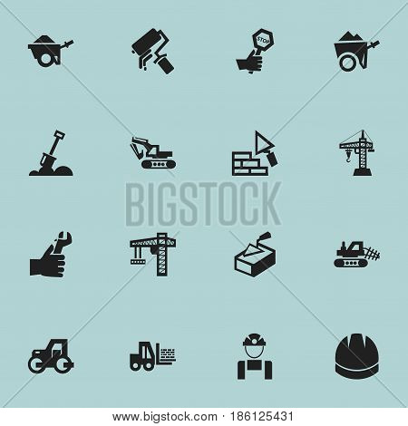 Set Of 16 Editable Construction Icons. Includes Symbols Such As Facing, Endurance, Truck And More. Can Be Used For Web, Mobile, UI And Infographic Design.