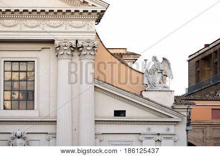particular of a church along the Tiber (tevere) river in Rome