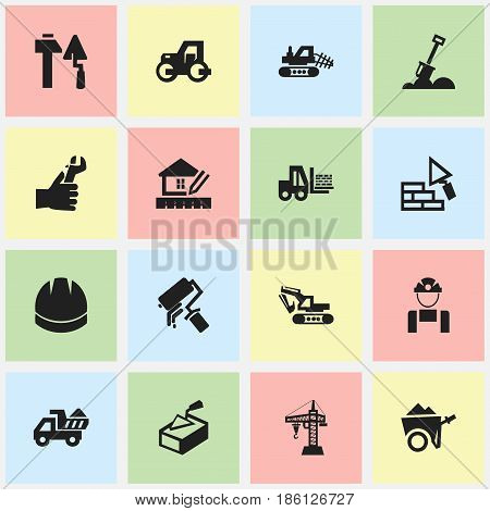 Set Of 16 Editable Construction Icons. Includes Symbols Such As Truck, Caterpillar, Home Scheduling And More. Can Be Used For Web, Mobile, UI And Infographic Design.