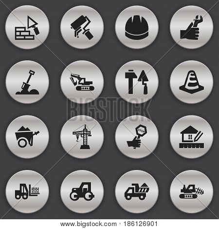 Set Of 16 Editable Structure Icons. Includes Symbols Such As Endurance, Excavation Machine, Mule And More. Can Be Used For Web, Mobile, UI And Infographic Design.