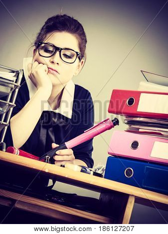 Sleepy Business Woman In Office Working