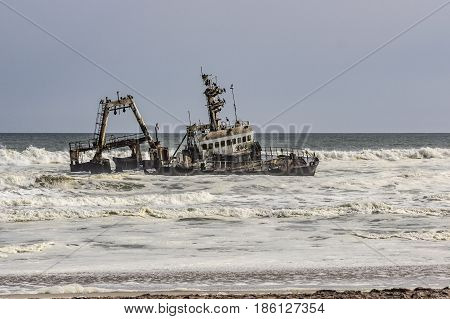 old ship wreck at the beach in Walvisbay