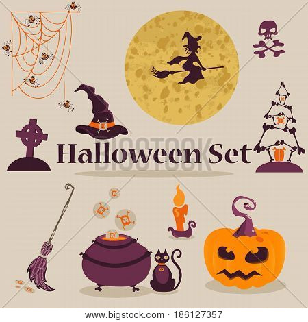 Vector illustration. Cute scary Halloween Characters set.