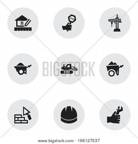 Set Of 9 Editable Structure Icons. Includes Symbols Such As Hands , Home Scheduling, Facing. Can Be Used For Web, Mobile, UI And Infographic Design.