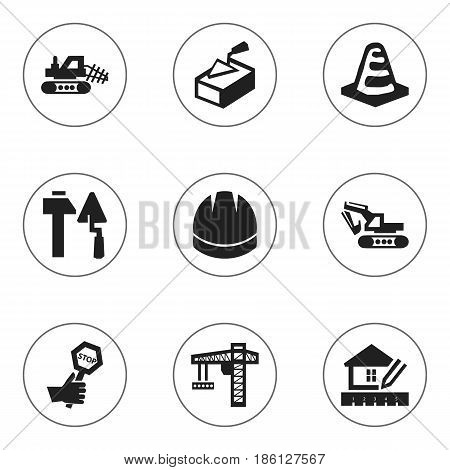 Set Of 9 Editable Construction Icons. Includes Symbols Such As Lifting Equipment, Home Scheduling, Mule And More. Can Be Used For Web, Mobile, UI And Infographic Design.
