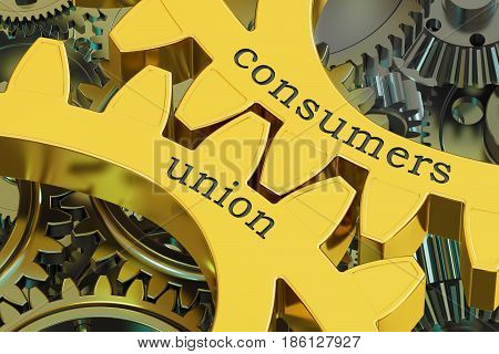 Consumers Union concept on the gears 3D rendering