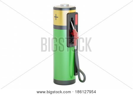 Electric car charging concept. Fuel pump nozzle with battery 3D rendering isolated on white background