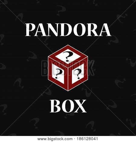 Red Pandoras box on black background with questions