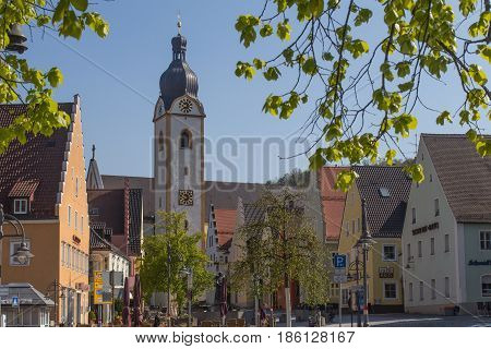 The marketplace of the little city Schwandorf in bavaria
