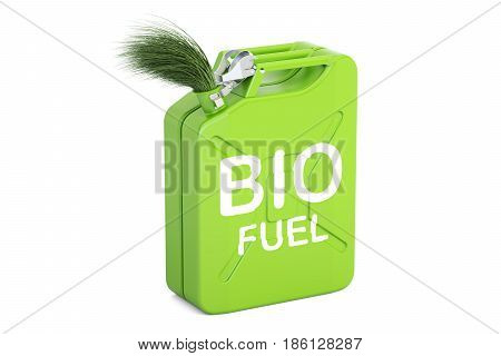 jerrycan with bio fuel 3D rendering isolated on white background