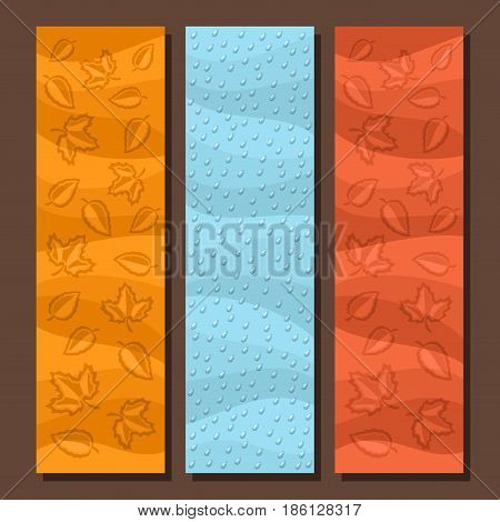 Vector set vertical banners for Autumn season: 3 layouts with falling leaves background, rain fall template for title text, flyer with blue rainfall drops backdrop, autumn rainy weather, maple foliage