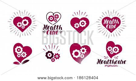 Health, healthcare logo. Heart, gears icon or symbol. Label vector illustration isolated on white background