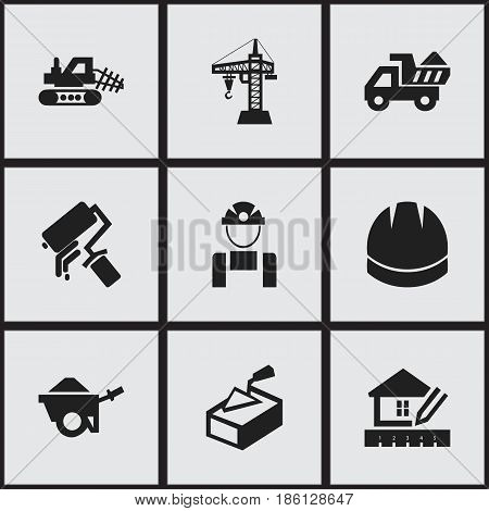 Set Of 9 Editable Building Icons. Includes Symbols Such As Mule, Spatula, Scrub And More. Can Be Used For Web, Mobile, UI And Infographic Design.