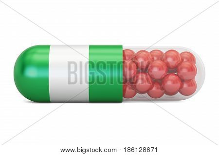 Pill capsule with Nigeria flag 3D rendering isolated on white background