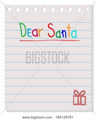 Dear Santa - letter to Santa Claus. Vector wishlist design layout.