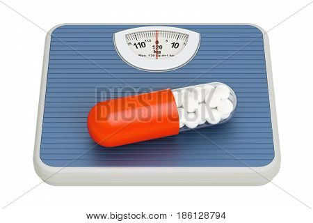 Weight scale with diet pill 3D rendering isolated on white background