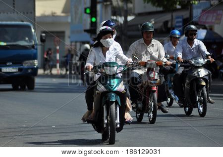 Scooter Traffic In Vietnam