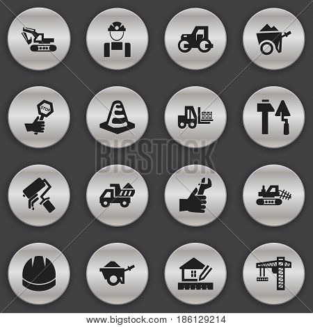 Set Of 16 Editable Building Icons. Includes Symbols Such As Mule, Caterpillar, Endurance And More. Can Be Used For Web, Mobile, UI And Infographic Design.