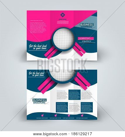 Brochure template. Business trifold flyer.  Creative design trend for professional corporate style. Vector illustration. Blue and pink color. poster