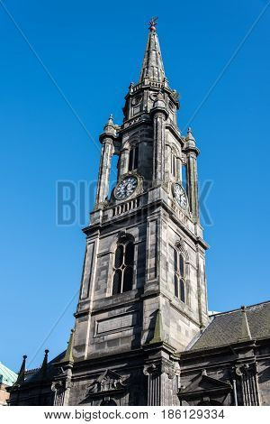 Church spire in Edinburgh