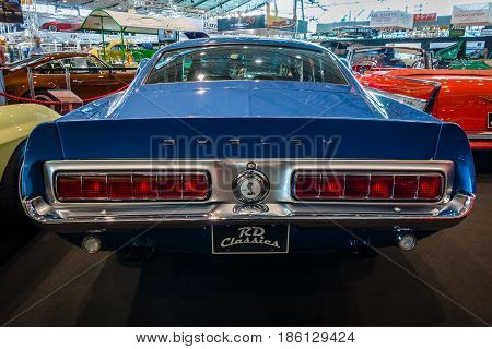 STUTTGART GERMANY - MARCH 02 2017: Muscle car Ford Mustang Shelby GT500KR 1968. Rear view. Europe's greatest classic car exhibition